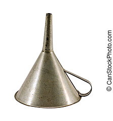 retro metal funnel hopper tool isolated on white background