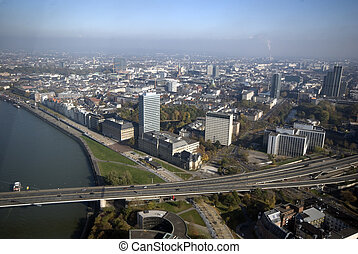Dusseldorf - Aerial Panorama of the city Dusseldorf in...