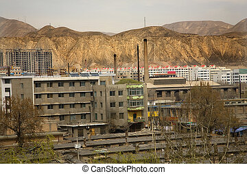 Chinese Factory with Chimneys Apartments Gansu Province,...