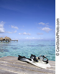 snorkeling equipment and lagoon