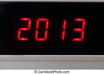 numérique, 2013, nouveau, année, calendrier