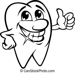 Smiling tooth in carton style