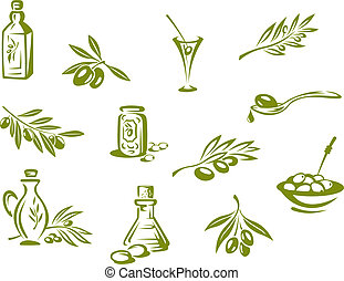 Green olives and organic oil symbols isolated on white...