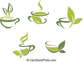 Fresh tea and green leaves - Cups of fresh tea and green...