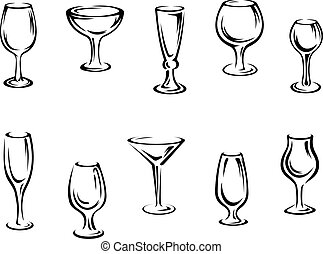 Alcohol and drink glasses