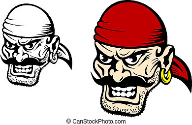 Danger pirate captain in cartoon style for mascot