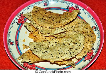 chappati - an indian food chappatti served in a restaurant...