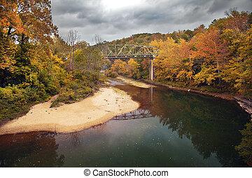Autumn Bridge - A bridge over the Buffalo River in Arkansas...