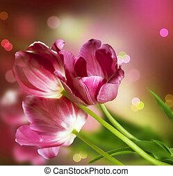 fleurs, Anniversaire, carte, conception
