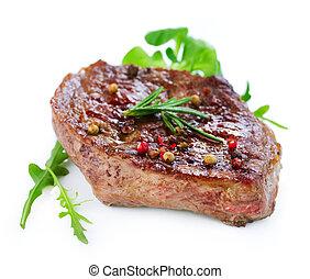 asado parrilla, carne de vaca, filete, aislado, en, blanco,...