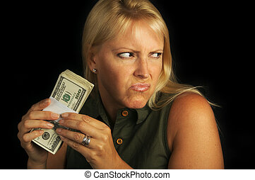 Greed - Attractive Woman Gets Greedy About Her Stack of...