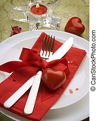 Romantic Dinner. Table place setting for Valentine's Day