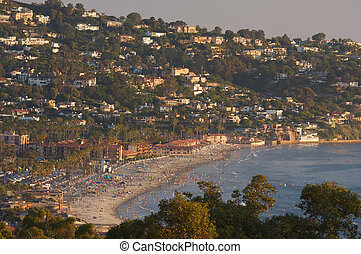 Crowded Day At The Beach in La Jolla, California.
