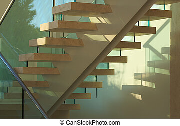 Majestic Marble Stairs and Glass Abstract