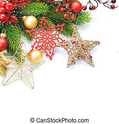 Christmas border over white. Corner design