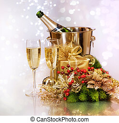 Champagne. New Year Celebration