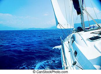 Viagem, luxo, iate, velejando