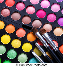 Maquillage, ensemble, professionnel, multicolore, fard...