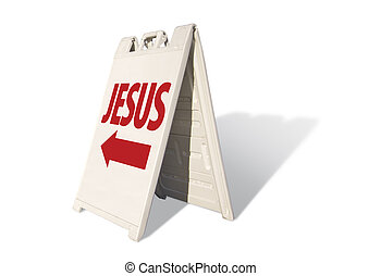 Jesus Tent Sign Isolated on a White Background