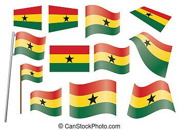 flag of Ghana - set of flags of Ghana vector illustration