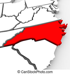 North Carolina Red Abstract 3D State Map United States...