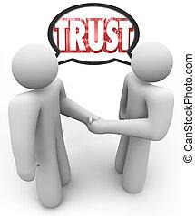 confianza, palabra, dos, gente, apretón de manos,...