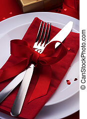 Romantic Dinner. Place setting for Valentine's Day
