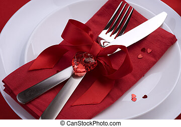 Romantic, Dinner, Place, setting, Valentine's, Day