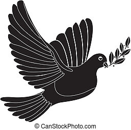 peace dove - Illustration - black silhouette of a peace dove...