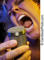 Woman Sings Passionately