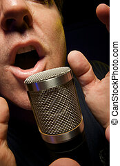 Male Vocalist on a Mic - Passionate Vocalist & Microphone