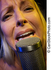 Woman Sings with Emotion