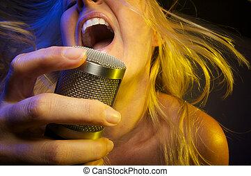 bastante, niña, Canta, pasión