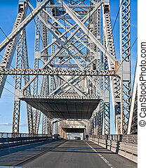 Steel Truss Bridge From Inside - This vertical traffic image...