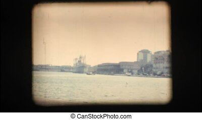 Vintage 8mm Port of Brindisi with view of the city