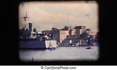 Vintage 8mm. Docked war ship in Brindisi