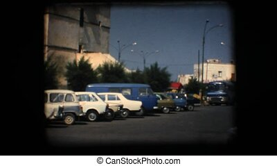 Vintage 8mm View of downtown plaza in a little village in...