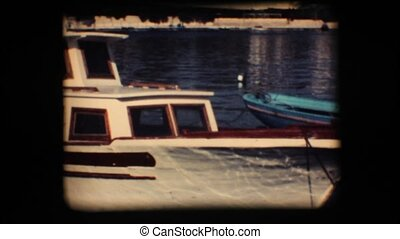 Vintage 8mm Docked boat - Vintage 8mm Docked recreational...