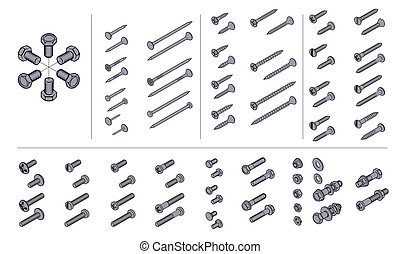 screws, nuts and nails in isometric view - vector technical...