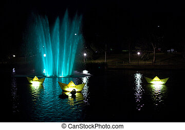 Adelaide fountain - Brightly colored fountain in Adelaide,...