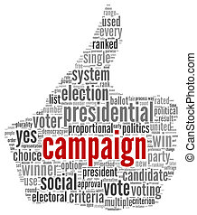 Campaign for president concept in word tag cloud on white...