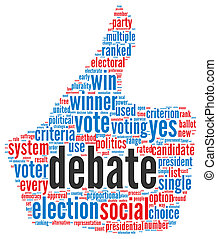 Presidential debate concept in word tag cloud on white...