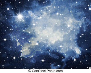 Night stars - The night sky in stars and blue galaxies
