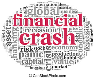 Financial crash concept on white - Financial crash concept...