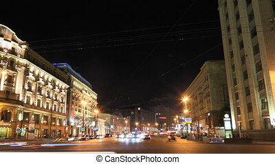 Night traffic timelapse - Tverskaya street in Moscow, Russia