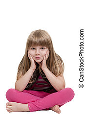 Little Girl Sitting - Beautiful little girl sitting with her...