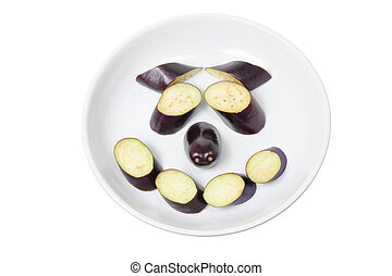 Egg Plant Face on White Background