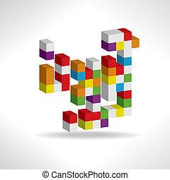 abstract logo - Multicolored cubes for a logo