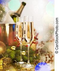 nowy, rok, celebrowanie, dwa, Szampan, okulary