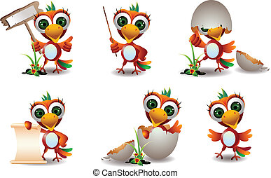 cute baby parrots cartoon set - vector illustration of cute...